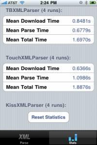 XML Parser Stats Display in Test App