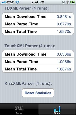 XML Parser Stats Display in Test App