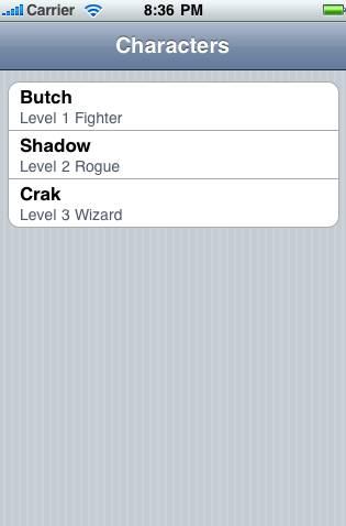 Screenshot of list of characters