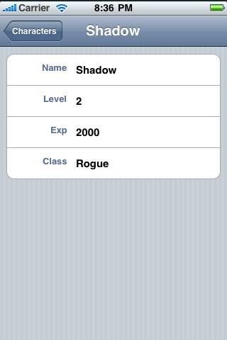 Screenshot of character details