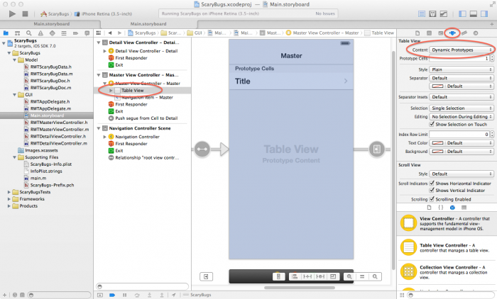 Setting table view to use dynamic prototype cells