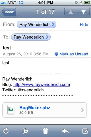 Emailed Bug Screenshot