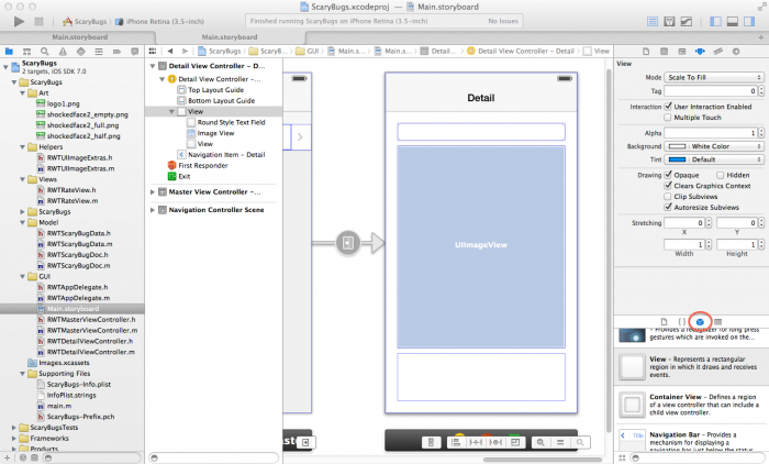 Laying out the interface in the storyboard editor