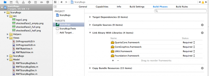 Adding required QuartzCore.framework library in Xcode