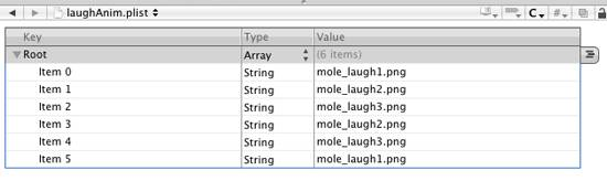 Setting up Laugh Animation in Property List Editor