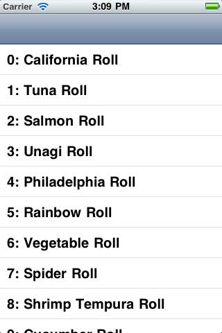 TableView listing Sushi