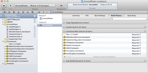 Framework dependencies in Xcode 4.2