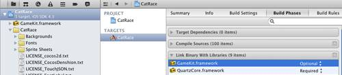 Adding Game Kit Framework to Xcode 4 Project