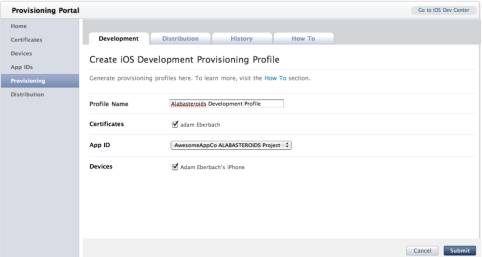 Creating a Provisioning Profile in the iOS Provisioning Portal
