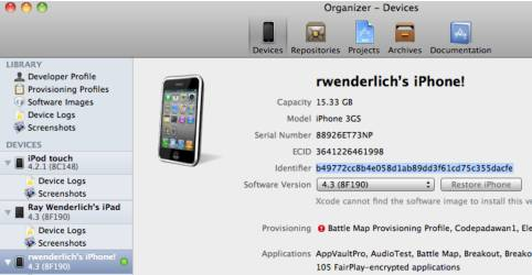 How to see your device's UDID in XCode Organizer