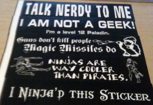 Bonus Prizes: Geeky Stickers!