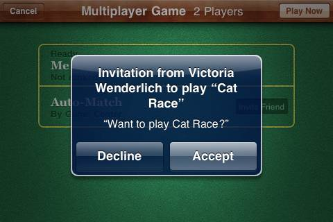 Receiving an invite from Game Center