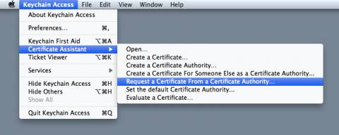 Requesting a certificate with Keychain Access