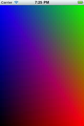 A colorful rectangle rendered with OpenGL ES 2.0