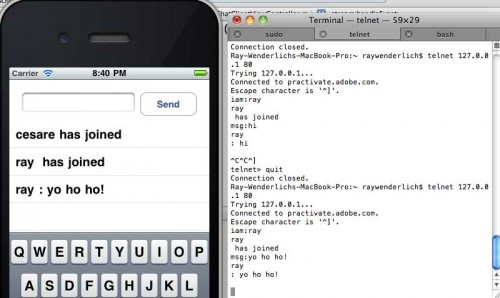 A fully functional socket-based iPhone app and server