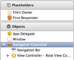 Navigation Controller added to Interface Builder dock