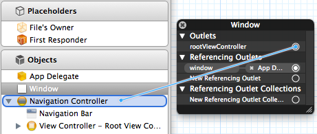 Connecting the Navigation Controller to the rootViewController outlet in Interface Builder