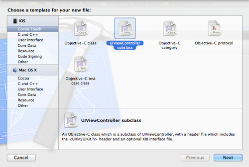 Creating a UIViewController subclass in Xcode
