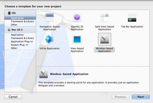 Creating a new Windows-based app in Xcode
