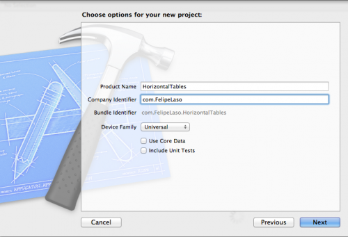Setting project name and options in Xcode
