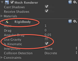 Adding a rigid body for collisions in Unity