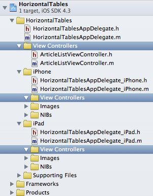 Groups created for View Controllers in Xcode