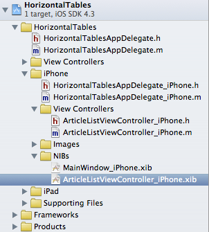 iPhone ArticleListViewController subclass XIB sorted into folder