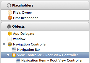 Setting the root view controller of a UINavigationController in Interface Builder