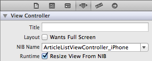 Setting the NIB Name for a View Controller in Interface Builder