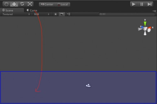 Dragging the game tab to the bottom of the Unity editor