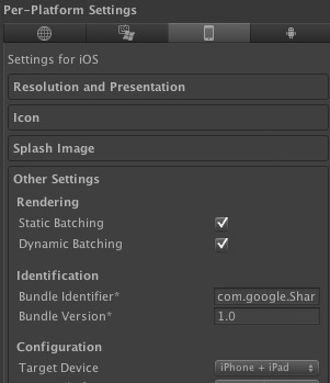 Unity iOS Platform Settings