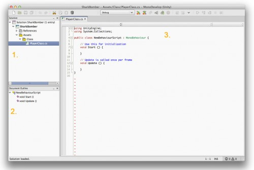 MonoDevelop editor launched from Unity