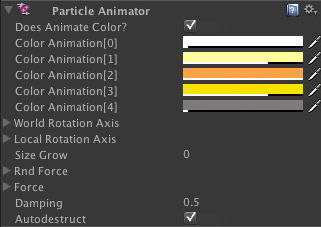 Particle Animator settings for Particle System in Unity