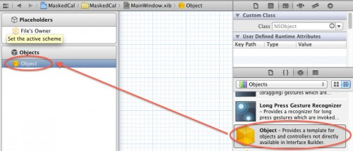 Dragging an Object into the Objects pane in Xcode