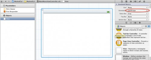 Setting the orientation of a UIView to Landscape in Interface Builder