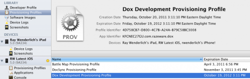 Viewing Provisioning Profiles in Xcode Organizer
