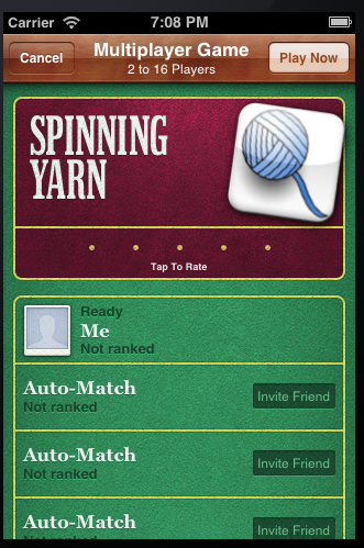 Creating a new match in Game Center
