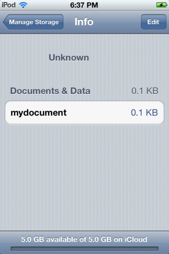 iCloud document for app in Settings