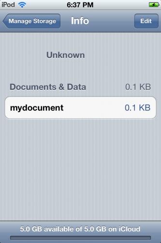 iCloud document for app in Settings