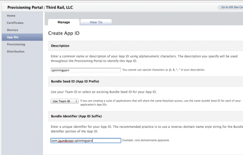 Creating a new App ID in the iOS Provisioning Portal