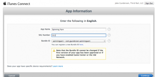 Creating a new App in iTunes