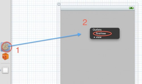 Connecting the view to an outlet in Interface Builder