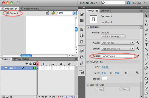 Setting the Document Class of a scene in Flash CS 5.5