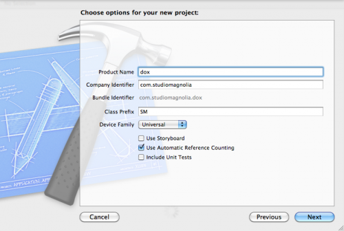 Creating a new app in Xcode
