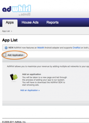 Adding a new app in AdWhirl