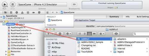 Adding the AdWhirl folder to your project