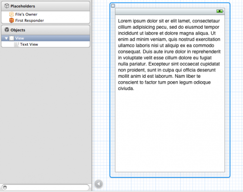 Adding a text view into Interface Builder