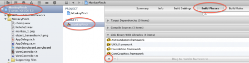 Adding the AVFoundation framework into the project