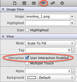 Setting user interaction enabled for an image view