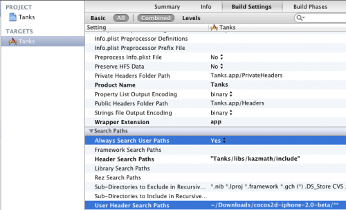 Adding Cocos2D User Header Paths